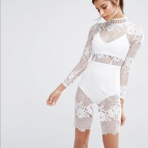 Missguided Lace High Neck Bodycon Dress in White